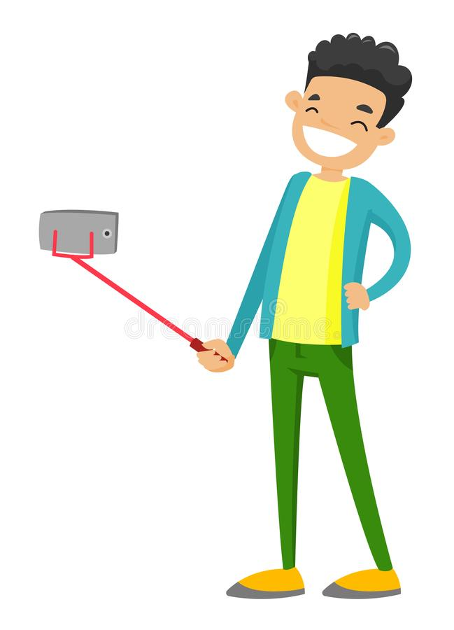 Garçon blanc caucasien d'adolescent prenant la photo de selfie illustration de vecteur