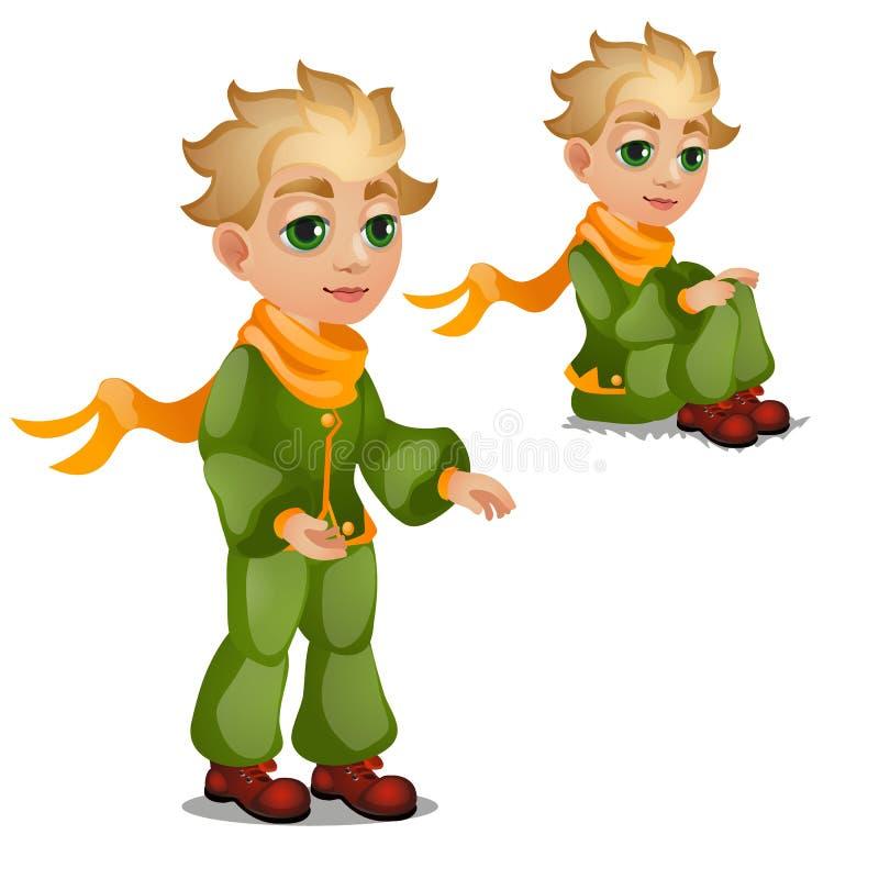 Garçon blond animé dans des vêtements verts d'isolement sur le fond blanc Illustration de plan rapproché de bande dessinée de vec illustration de vecteur