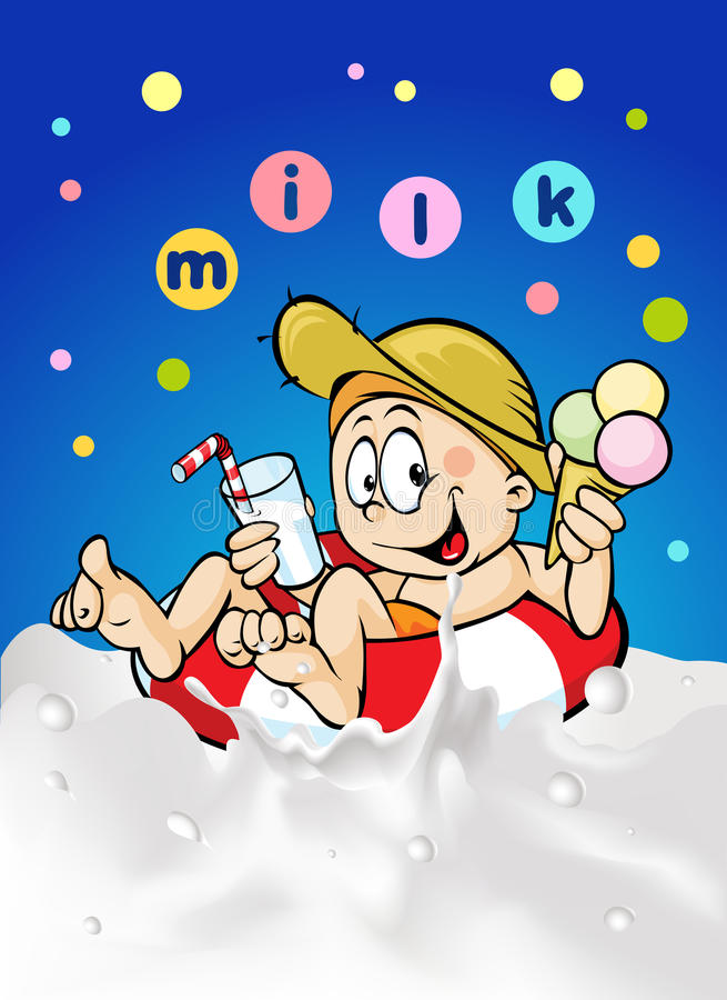 Garçon blond gai en cercle de peignoir pour la vague de laiterie, tenant une crème glacée  illustration libre de droits