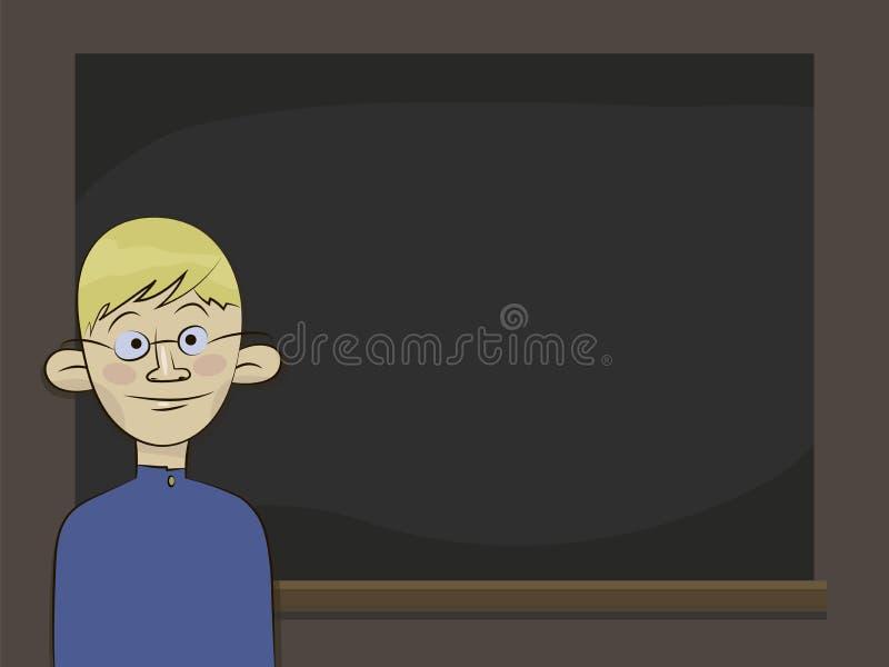 Garçon blond un élève d'honneurs dans les verres et l'uniforme scolaire bleu se tenant près d'un conseil noir illustration stock