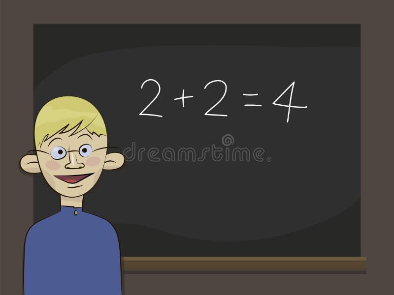 Garçon blond un élève d'honneurs dans les verres et l'uniforme scolaire bleu se tenant et souriant près d'un conseil noir avec de illustration stock