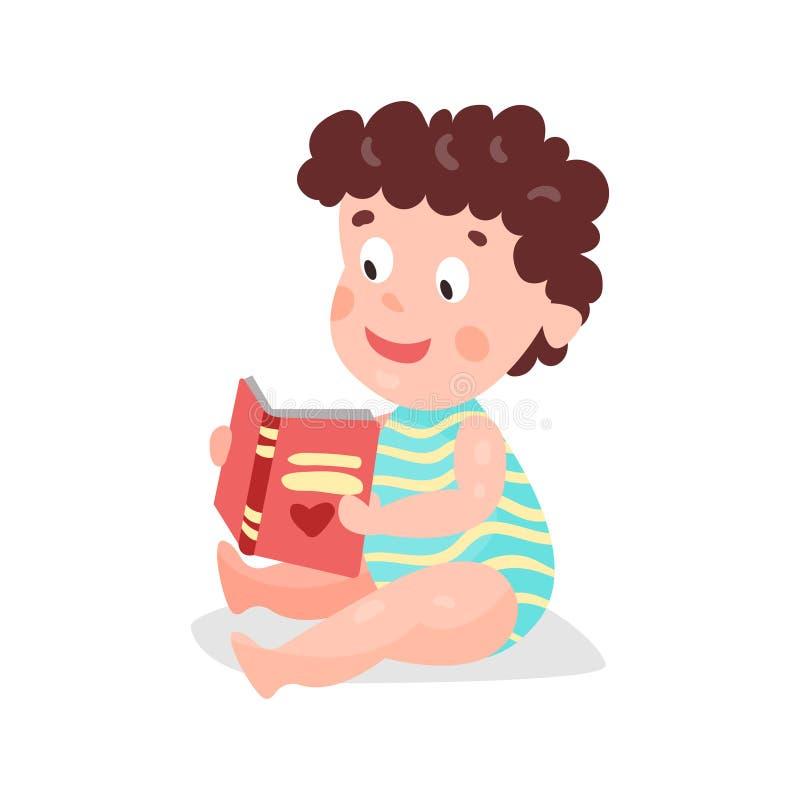 Garçon bouclé d'enfant en bas âge de bande dessinée mignonne s'asseyant sur le plancher et lisant une illustration colorée de car illustration de vecteur