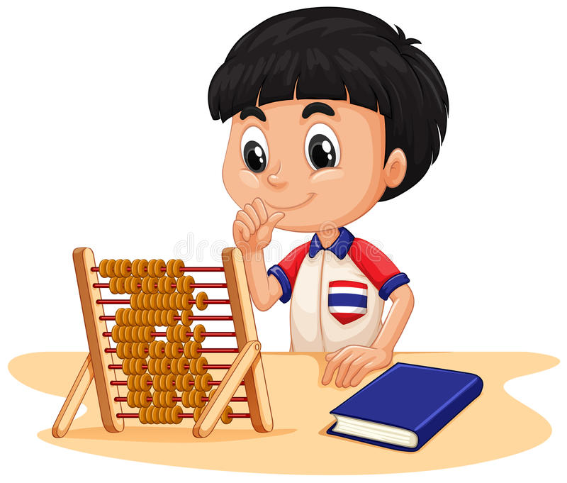 Garçon calculant avec l'abaque illustration de vecteur