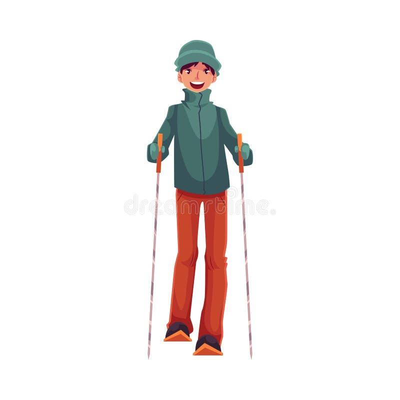 garçon caucasien Ado-âgé avec le ski et les poteaux illustration de vecteur