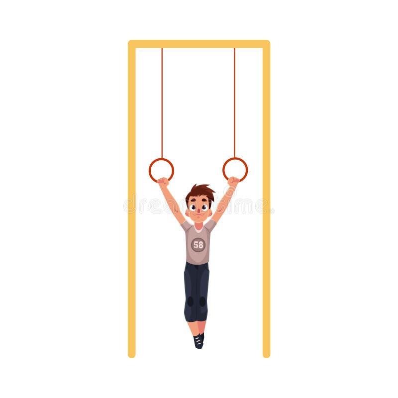 Garçon caucasien adolescent accrochant sur les anneaux gymnastiques au terrain de jeu illustration libre de droits