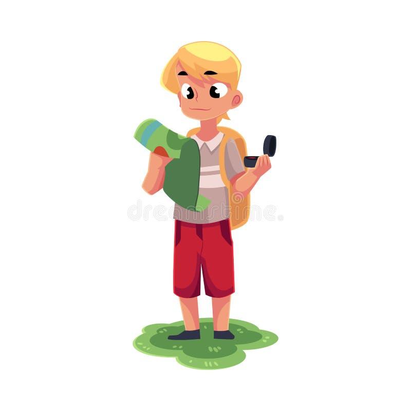 Garçon caucasien adolescent avec un sac à dos étudiant la carte, tenant la boussole illustration libre de droits