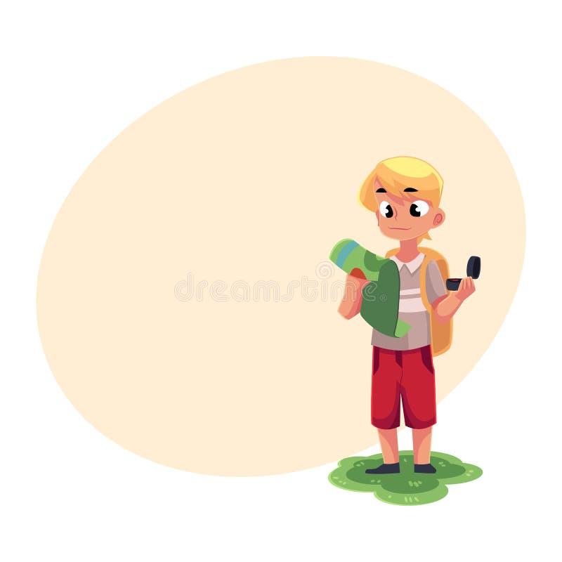 Garçon caucasien adolescent avec un sac à dos étudiant la carte, tenant la boussole illustration stock