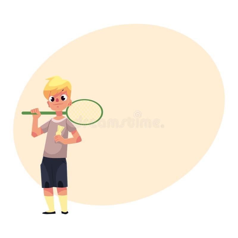 Garçon caucasien adolescent tenant la raquette et la birdie de badminton illustration libre de droits