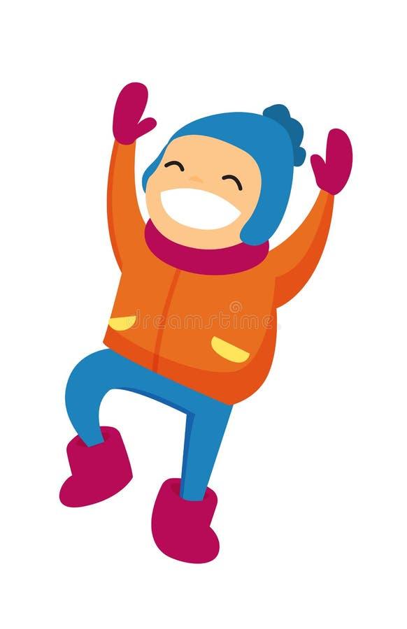 Garçon caucasien dans l'habillement d'hiver sautant dehors illustration stock