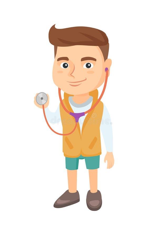 Garçon caucasien dans le manteau de docteur tenant un stéthoscope illustration libre de droits