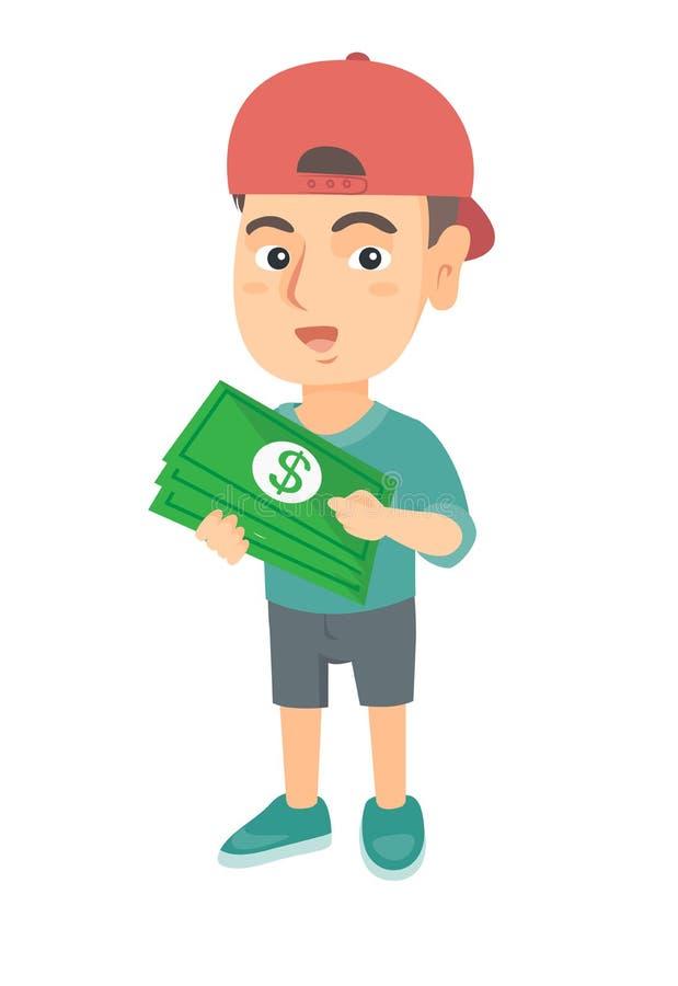 Garçon caucasien dans un chapeau tenant l'argent dans des mains illustration libre de droits