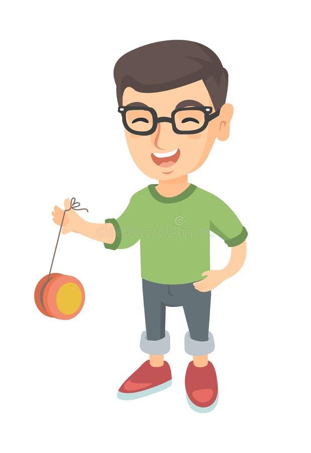 Garçon caucasien en verres jouant avec le yo-yo illustration stock