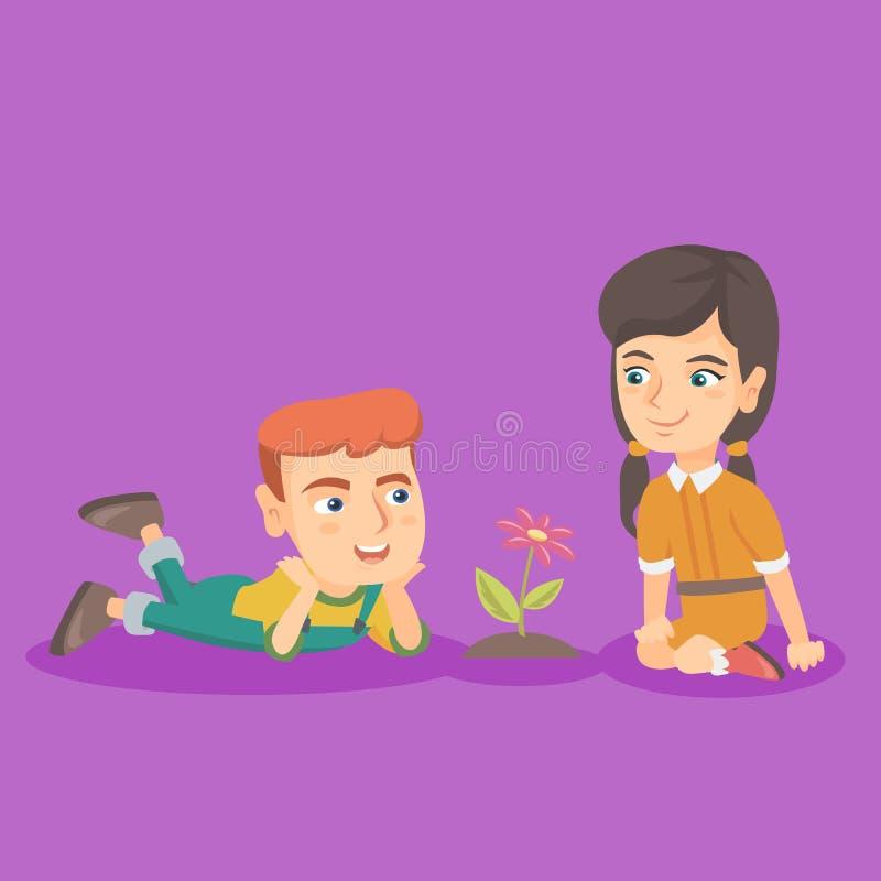 Garçon caucasien et fille regardant la fleur illustration stock