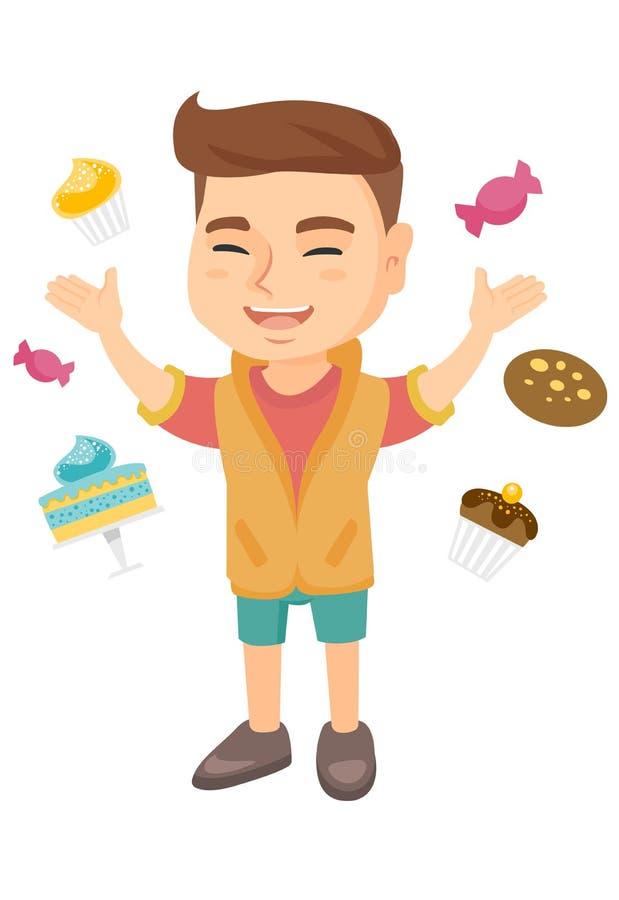 Garçon caucasien heureux se tenant parmi un bon nombre de bonbons illustration libre de droits