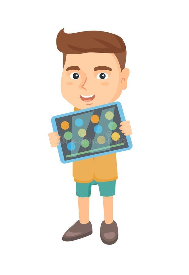 Garçon caucasien jouant le jeu sur une tablette illustration stock