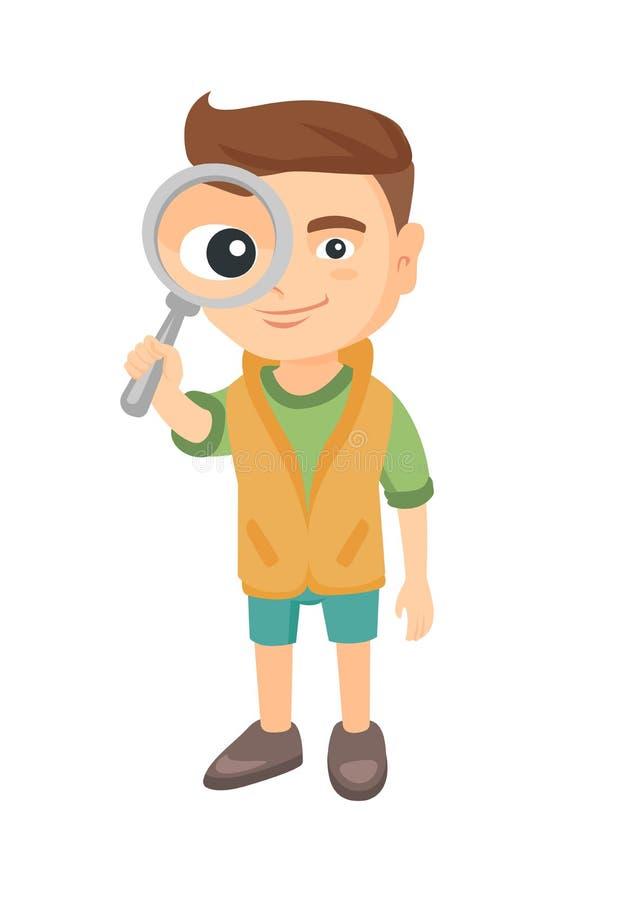 Garçon caucasien regardant par une loupe illustration stock