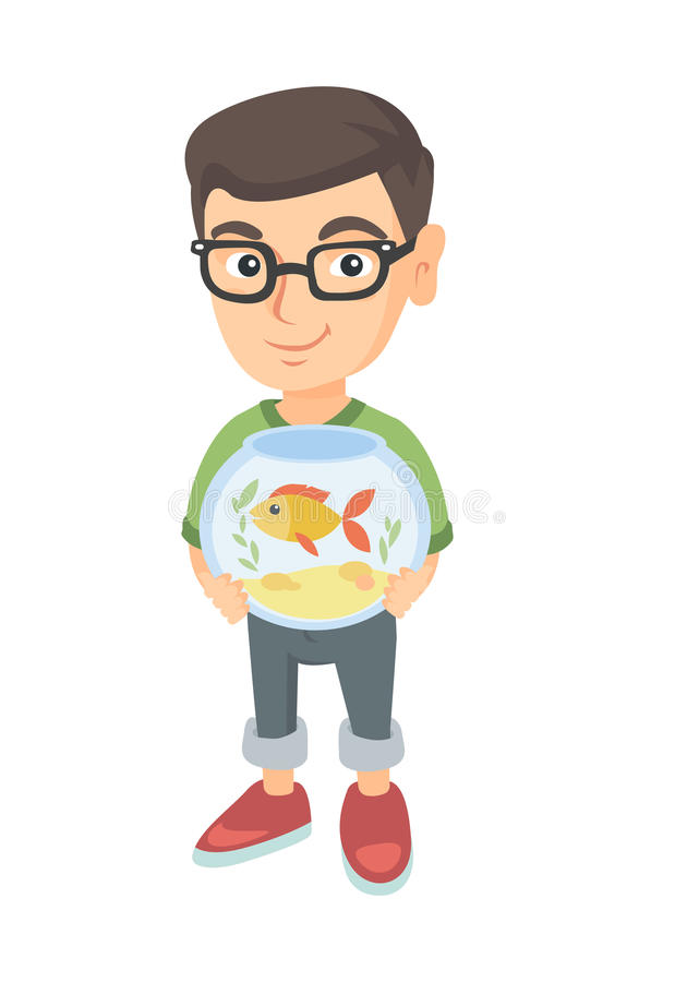 Garçon caucasien tenant l'aquarium avec le poisson rouge illustration de vecteur