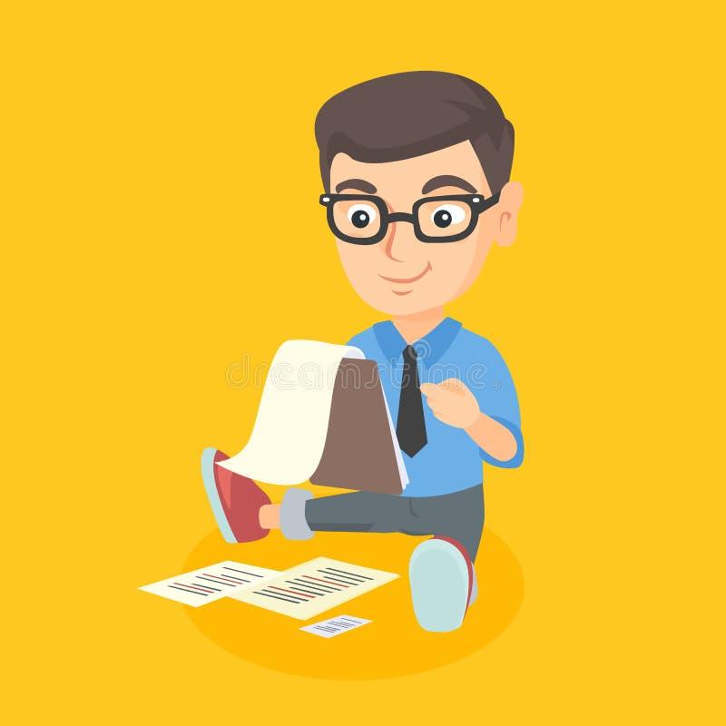 Garçon caucasien travaillant avec un document d'entreprise illustration de vecteur