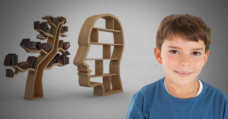 Garçon contre le sourire gris de fond et tête et étagère d'arbre de la connaissance illustration stock