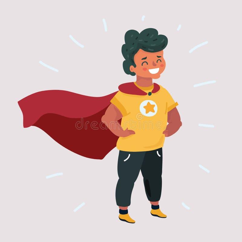 Garçon courageux comique dans le costume de super héros illustration libre de droits