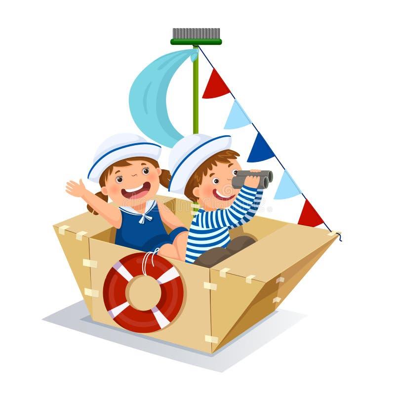 Garçon créatif et fille jouant le marin avec le bateau de carton illustration de vecteur