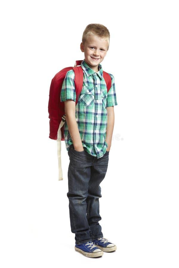 Garçon d'école avec le sac à dos images libres de droits