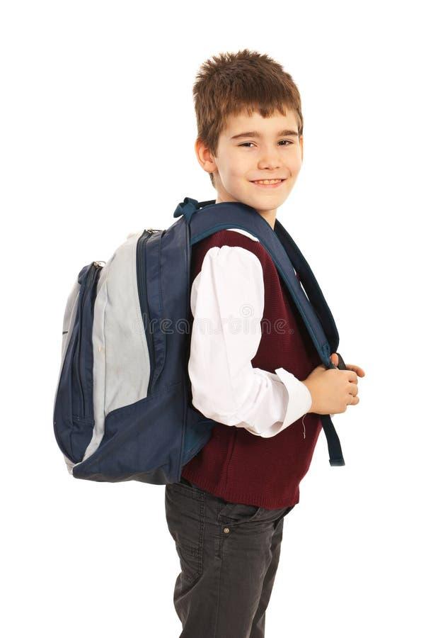 Garçon d'école heureux photos libres de droits