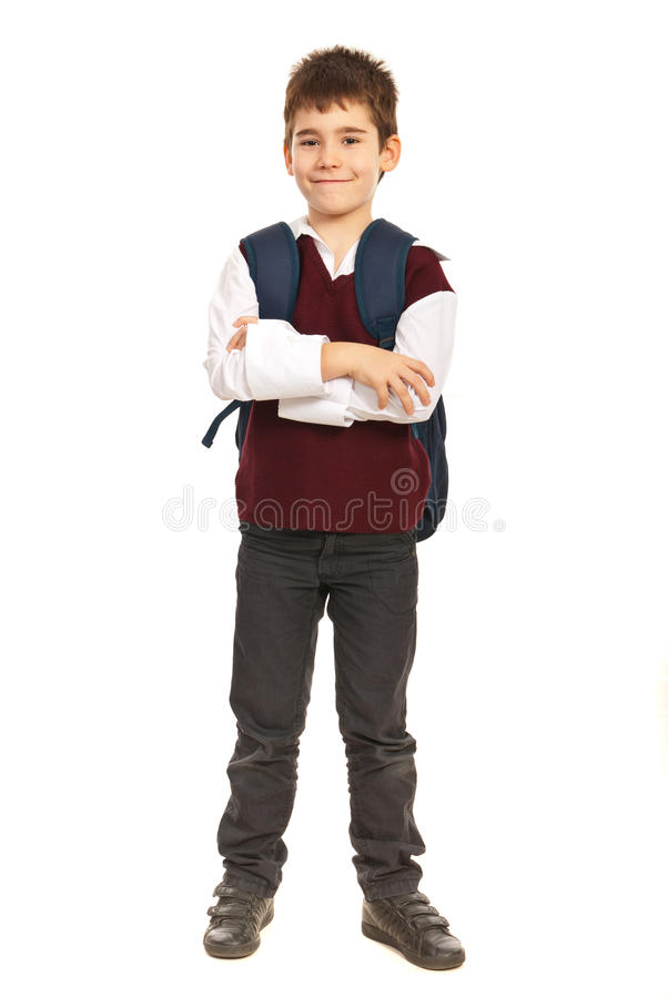 Garçon d'étudiant avec des bras pliés photo stock
