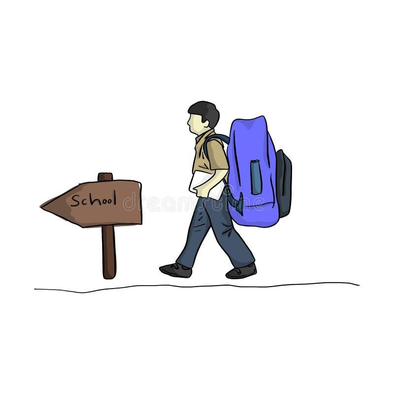 Garçon d'étudiant masculin avec le sac d'école très grand et le vecteur en bois de signe illustration libre de droits