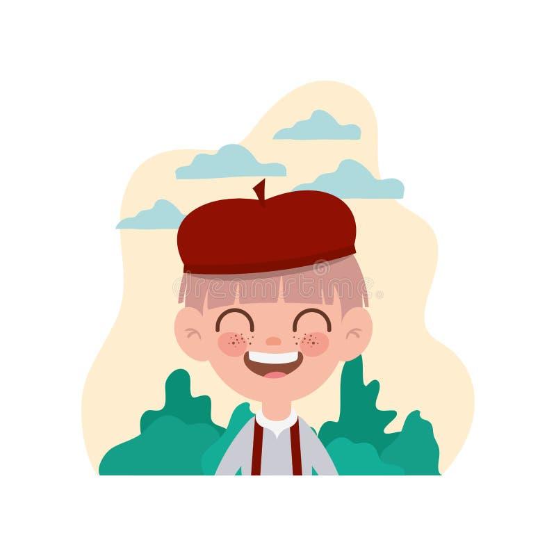 Garçon d'étudiant souriant avec le fond de paysage illustration stock