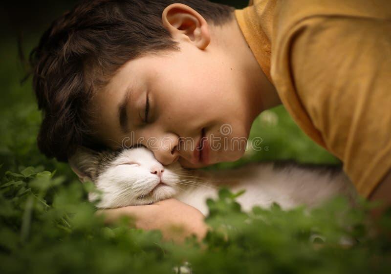 Garçon d'adolescent avec le chat dans le petit somme de monticule photographie stock libre de droits