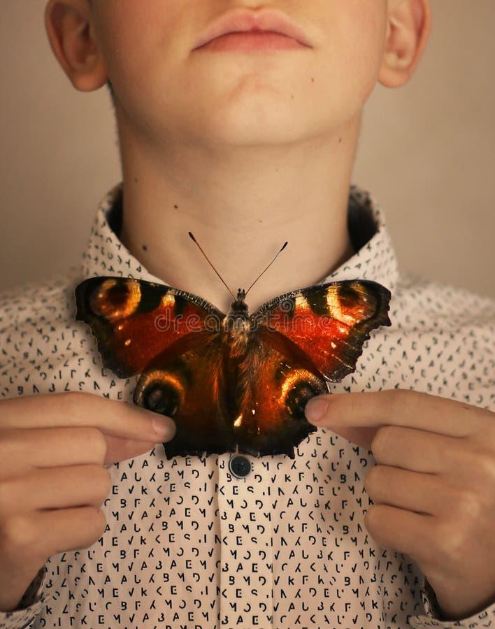 Garçon d'adolescent avec le noeud papillon de papillon photos libres de droits
