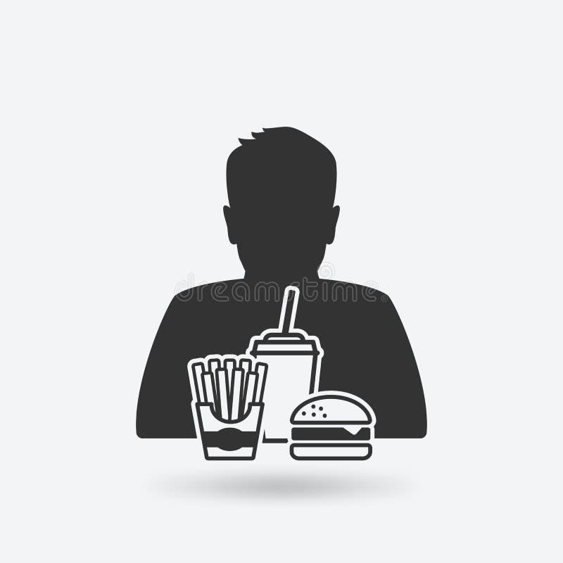 Garçon d'adolescent avec les aliments de préparation rapide illustration de vecteur
