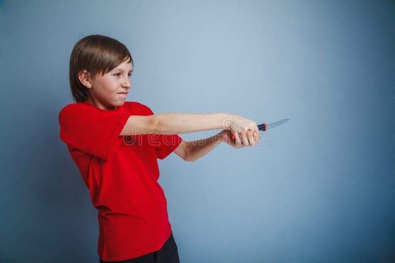 Garçon d'adolescent douze ans dans le T-shirt rouge avec photos libres de droits