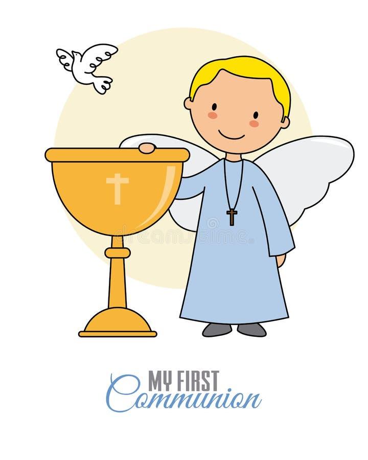 Garçon d'ange avec le calice illustration stock