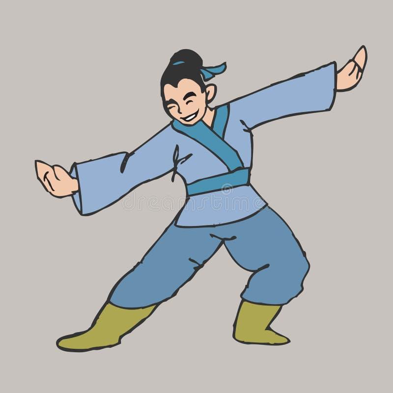 Garçon d'art martial illustration de vecteur