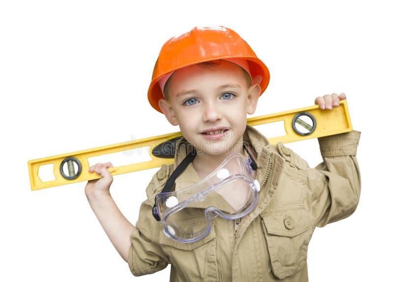 Garçon d'enfant avec le bricoleur jouant de niveau Outside Isolated photographie stock libre de droits