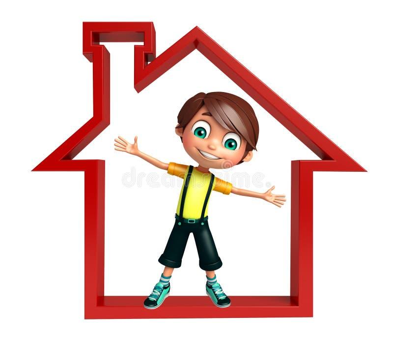 Garçon d'enfant avec le signe à la maison illustration libre de droits