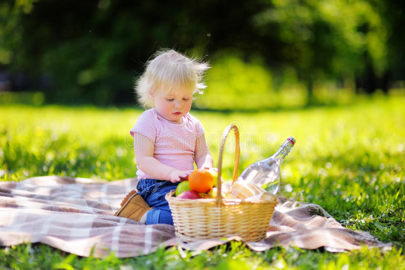 Garçon d'enfant en bas âge ayant un pique-nique dans le parc photo libre de droits