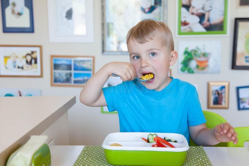 Garçon d'enfant mangeant de la salade de légume frais image libre de droits