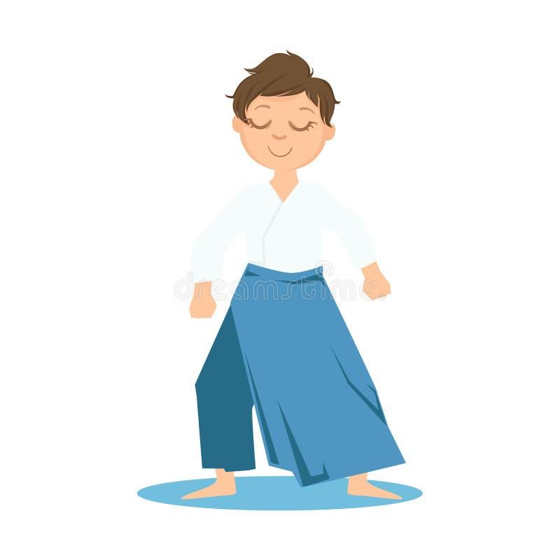 Garçon dans des pantalons larges faisant le personnage de dessin animé martial de Zen Relaxed Stance On Karate Art Sports Trainin illustration stock