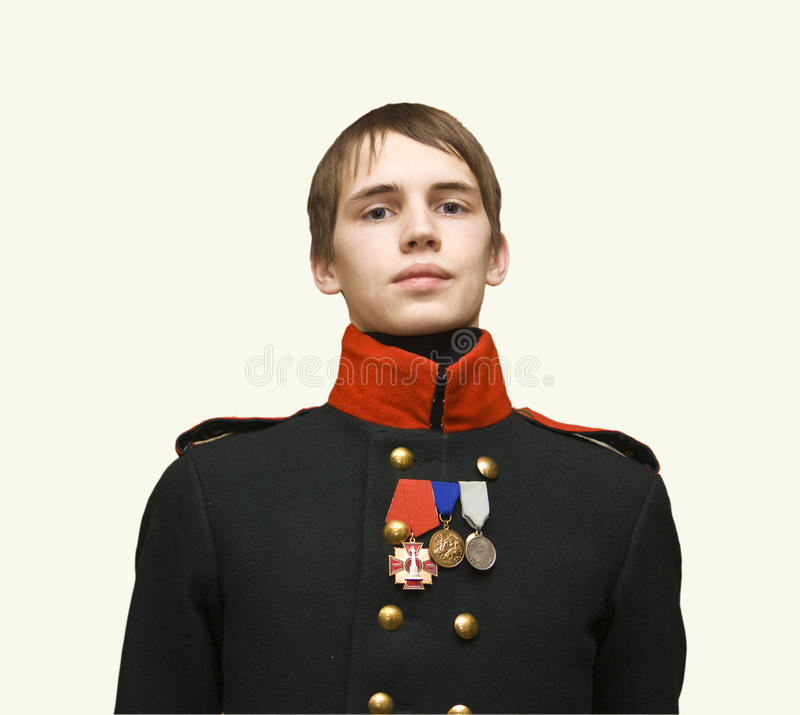 Garçon dans l'uniforme du soldat en XIX siècle photos libres de droits