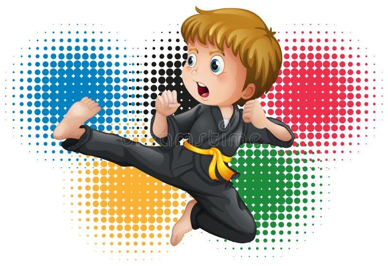 Garçon dans l'uniforme noir de karaté illustration libre de droits