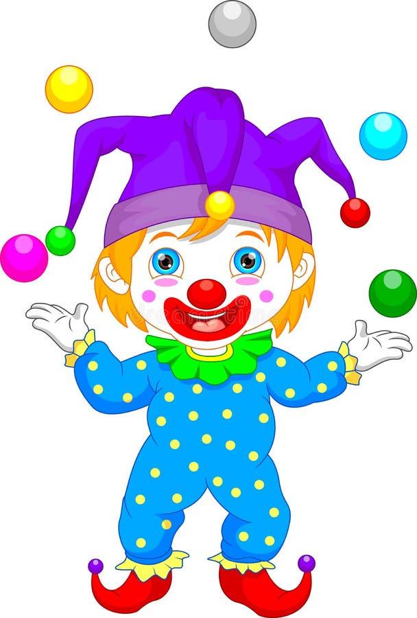 Garçon dans la bande dessinée de costume de clown illustration de vecteur