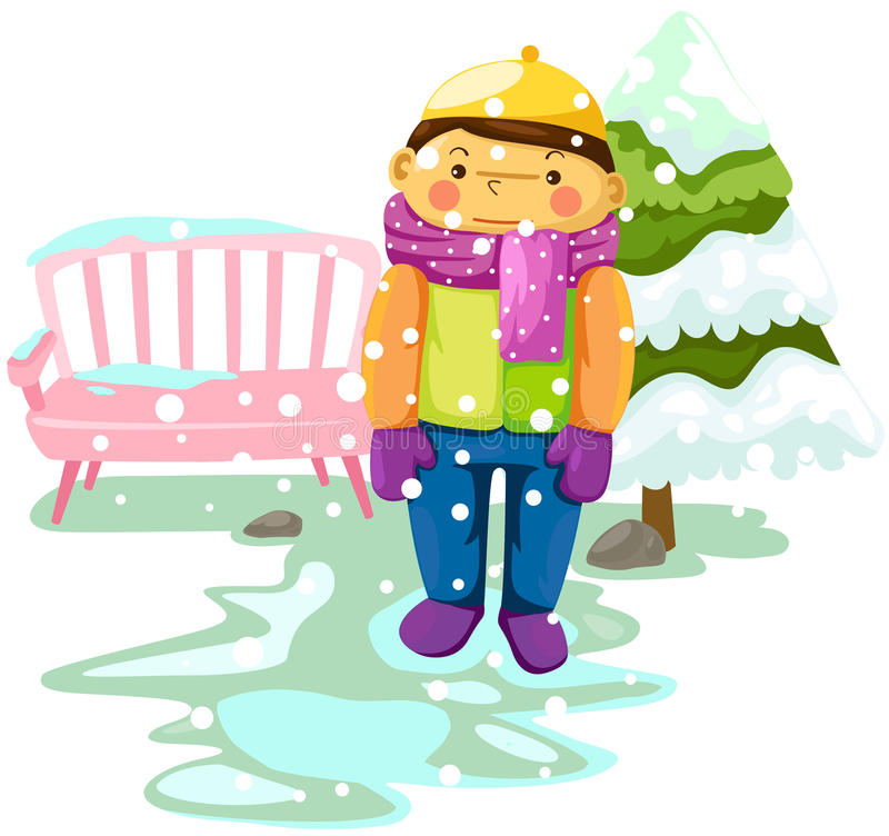 Garçon dans la neige illustration stock