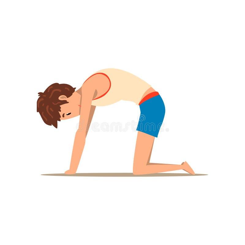 Garçon dans la pose de yoga de chat, Marjaryasana, exercice de réadaptation pour des douleurs de dos et améliorer l'illustration  illustration de vecteur