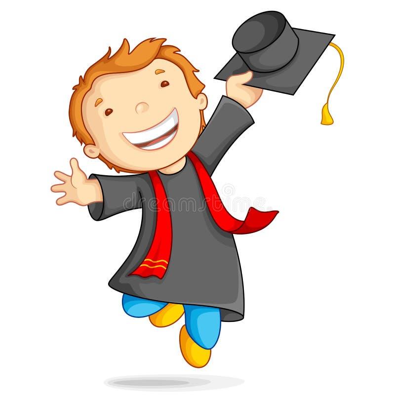 Garçon dans la robe de graduation illustration stock