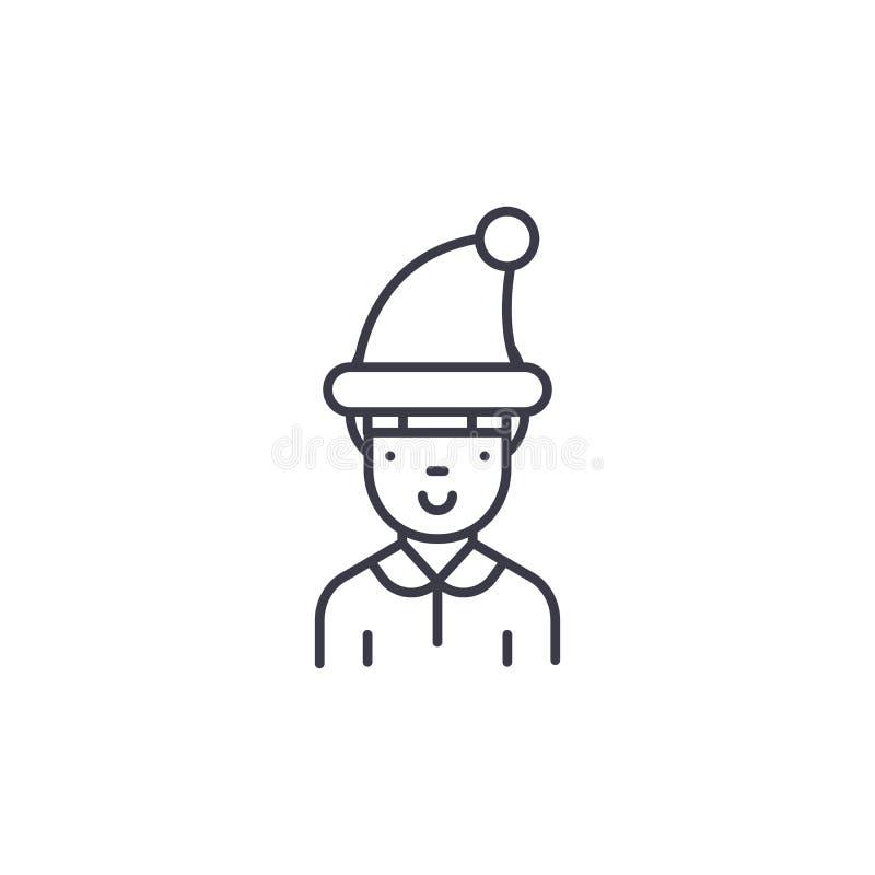 Garçon dans le concept linéaire d'icône de chapeau d'hiver Garçon dans la ligne signe de vecteur, symbole, illustration de chapea illustration de vecteur