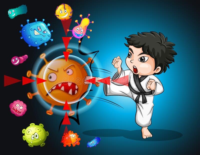 Garçon dans le costume de karaté donnant un coup de pied des bactéries illustration libre de droits