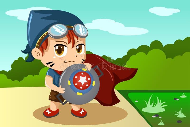 Garçon dans le costume de super héros illustration libre de droits